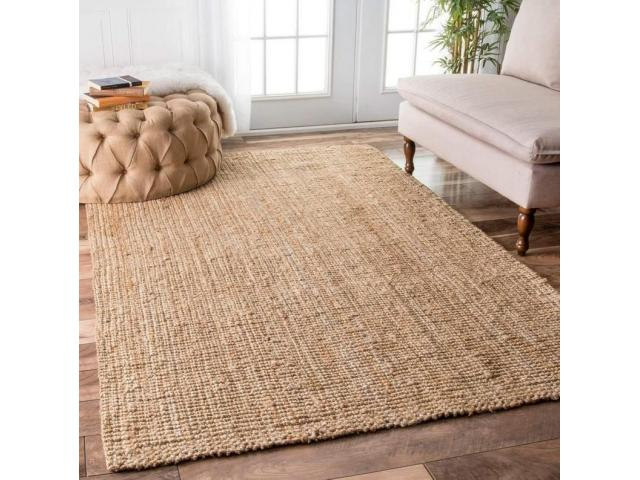Habereindia - Indian Braided Jute Rug Hand Woven Natural Jute