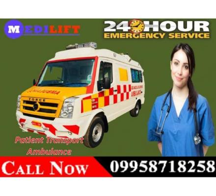 Get Medilift ICU Road Ambulance Service in Argora, Ranchi at the Cheapest Cost