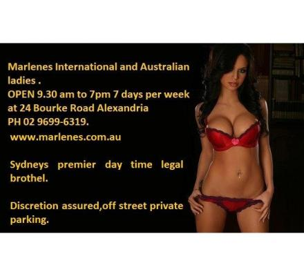 Marlene's at Alexandra offers you Sydney's biggest day time line up of loving ladies 9.30am to 7pm p