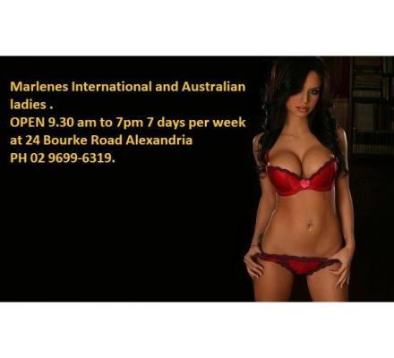 Gents meet Sydney's most exciting ladies at Marlene's Alexandria 9.30 am till 7pm ph 96996319