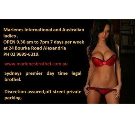 Marlene's Alexandria open 9.30am till 7pm Sydney's best day Brothel 02 96996319