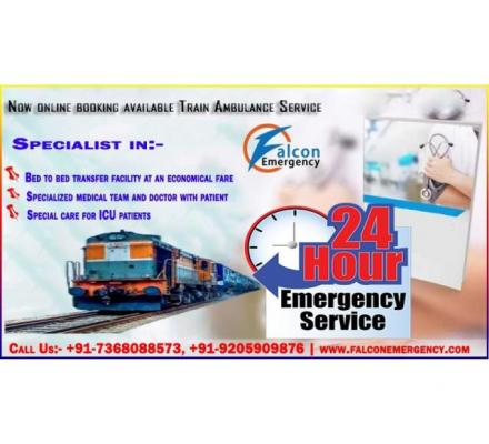 Use Best ICU Train Ambulance Patna to Delhi Cost with Medical Team by Falcon Emergency