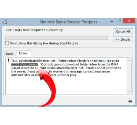 OUTLOOK SEND RECEIVE ERROR 0x800cccOe