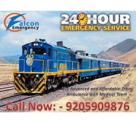 Get Falcon Emergency Train Ambulance from Guwahati to Delhi at the Minimum Cost