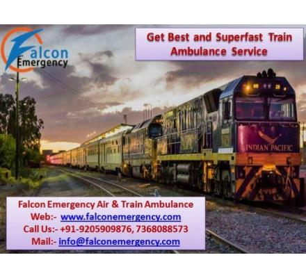 Get Best and Safe Falcon Train Ambulance from Ranchi to Delhi with Medical Facility