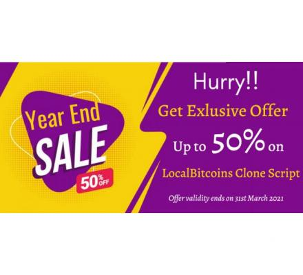 Financial Year End Sale!! - Avail up to 50 % OFF on LocalBitcoins Clone Script