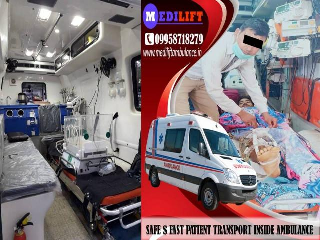 Avail Medilift Affordable Cost ICU Ambulance Service in Saguna More