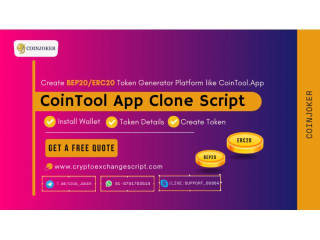 CoinTool App Clone Script - To Create BEP20 and ERC20 Token Generator Platform Similar to CoinTool.A