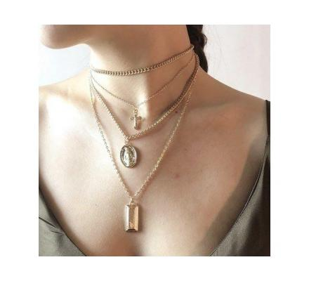 Bohemia Cross Layered Pendant Necklace Gift For Women Jewelry